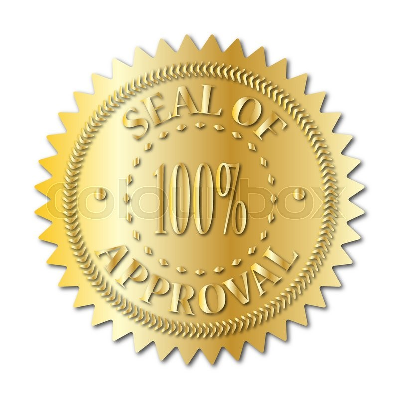 a gold seal of approval badge isolated on a white background stock