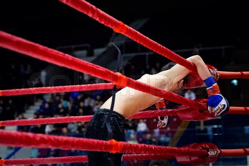 Defeat MMA fighter on ropes of ring after fight, stock photo