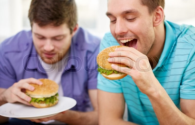 Fast Food Unhealthy Eating People And Junk Food Close Up Of