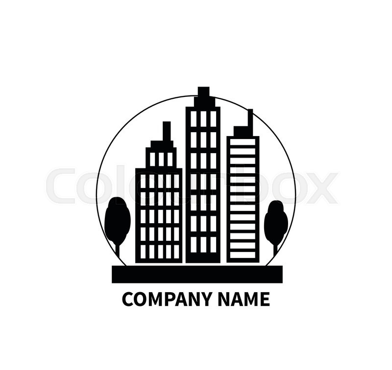 Building Logo Sign Design Flat Company Name Construction Building