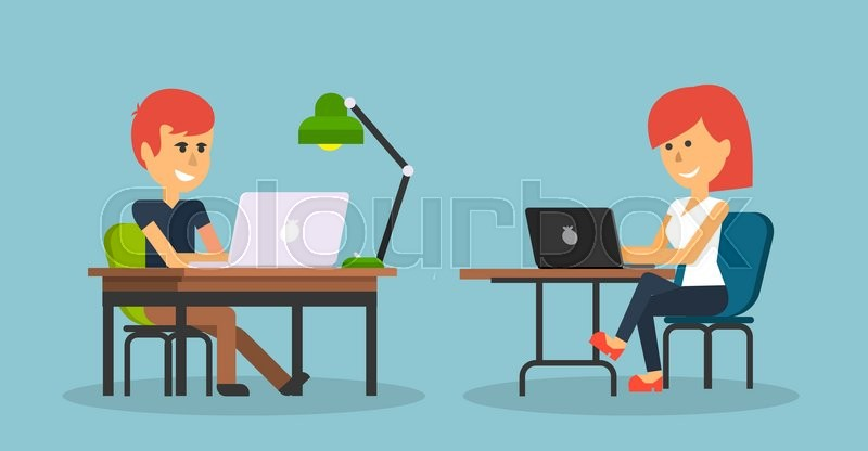 People work in office design flat. Business woman and man, computer worker, Office desk table and workplace. Guy girl sitting on chair at table in front of computer laptop monitor and shining lamp, vector