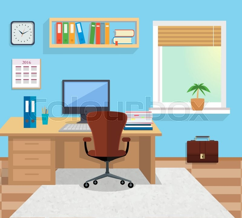 Modern Office Interior With Designer Desktop In Flat