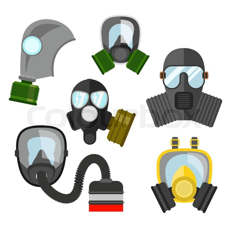 gas mask vector set gas mask for firefighters and military