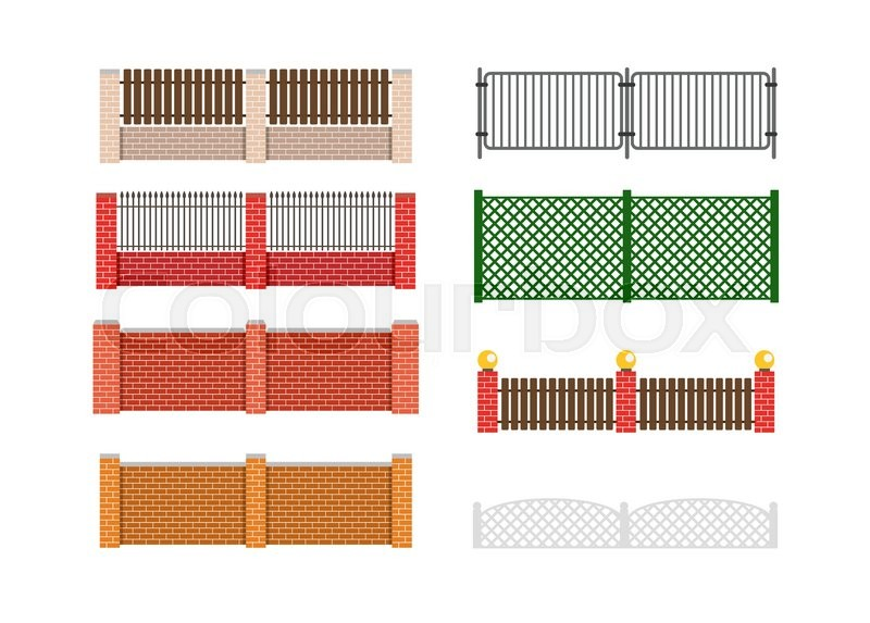 brick fence and wood fence fence around the house vector design - Brick Wall Fence Designs