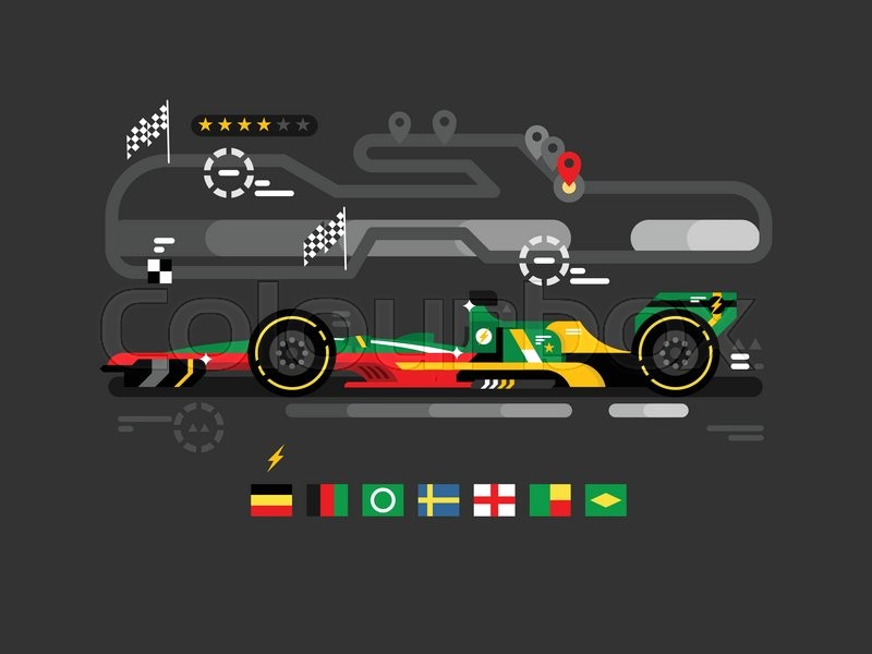 Motorsport formula one. F1 speed sport car race, fast championship, motor track competition, vector illustration, vector