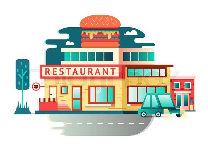 Restaurant building flat design architecture facade food