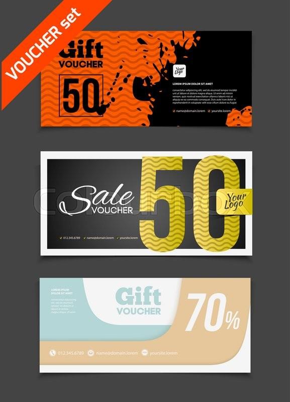 Gift voucher vector set sale illustration
