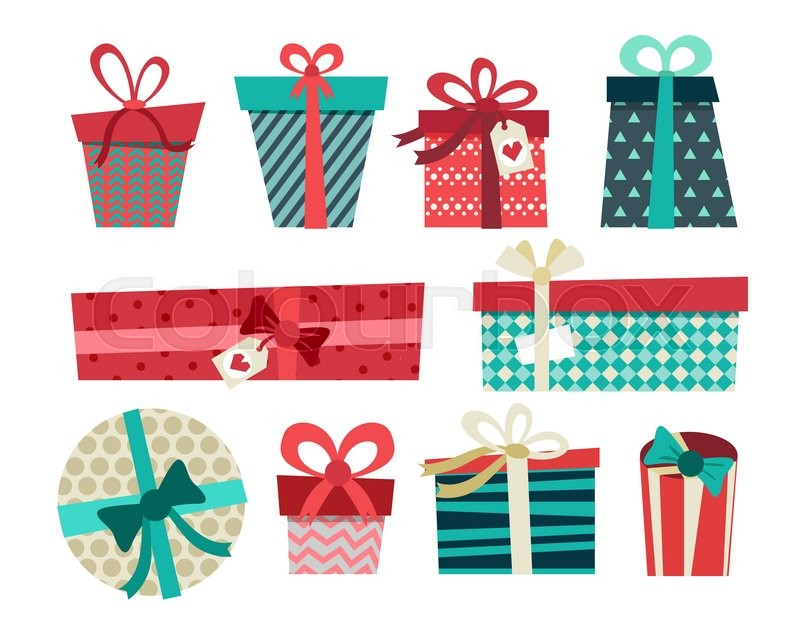 Colorful gift boxes with bows and ribbons vector set. Gift boxes ...