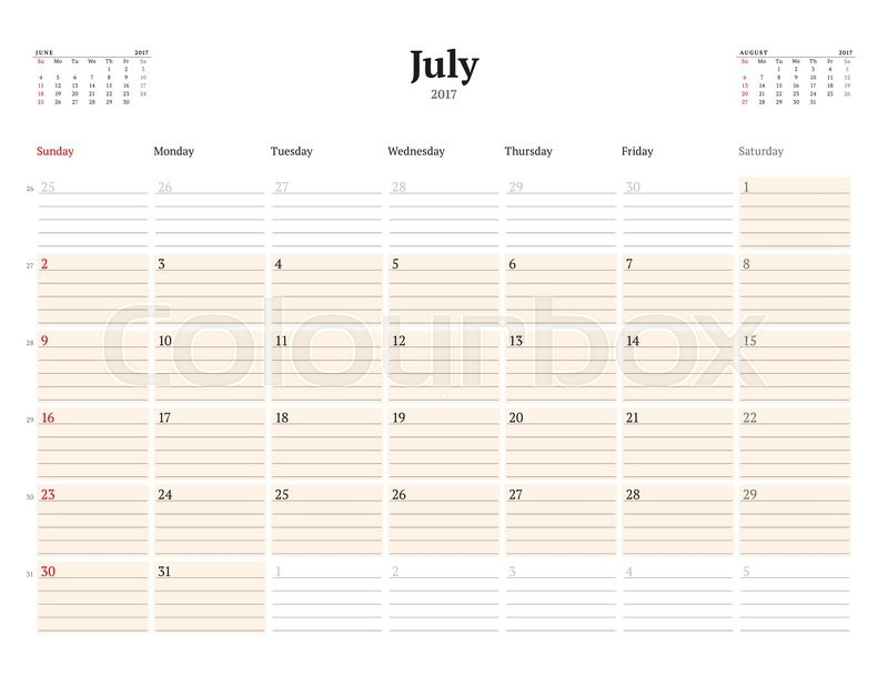 Calendar Template For 2017 Year July Business Planner Template