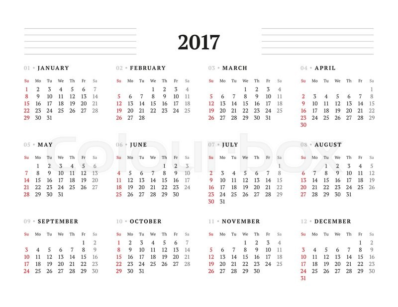 Simple Calendar Template for 2017 Year. Stationery Design. Week ...
