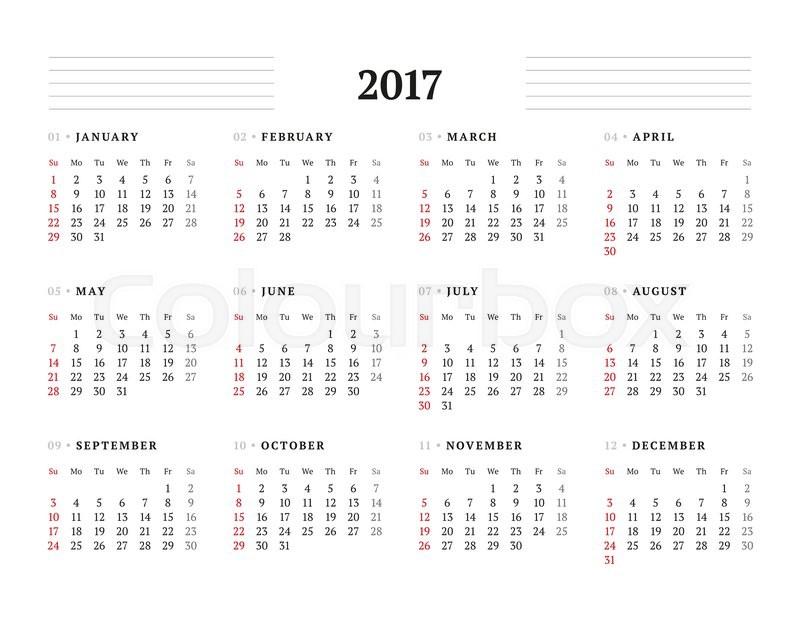 template 2017 calendar