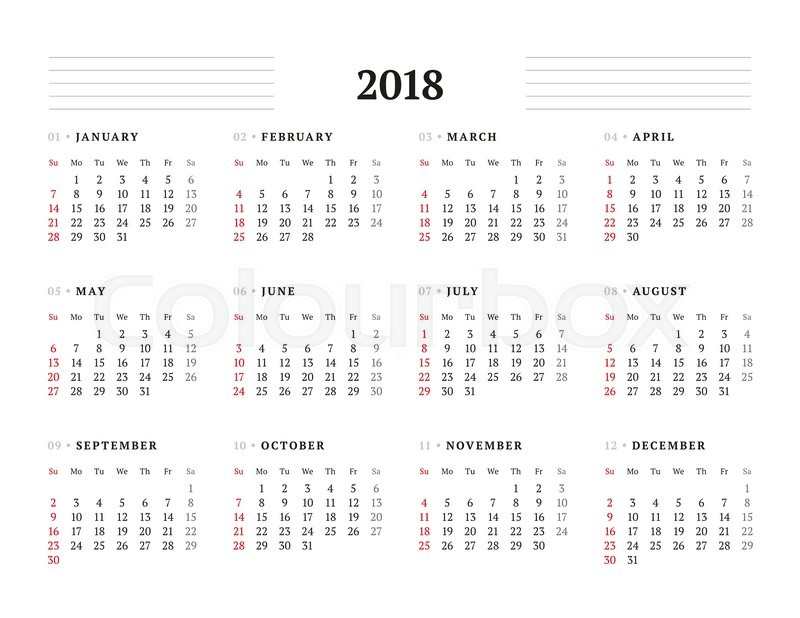 Year Calendar Starting : Simple calendar template for year stationery design