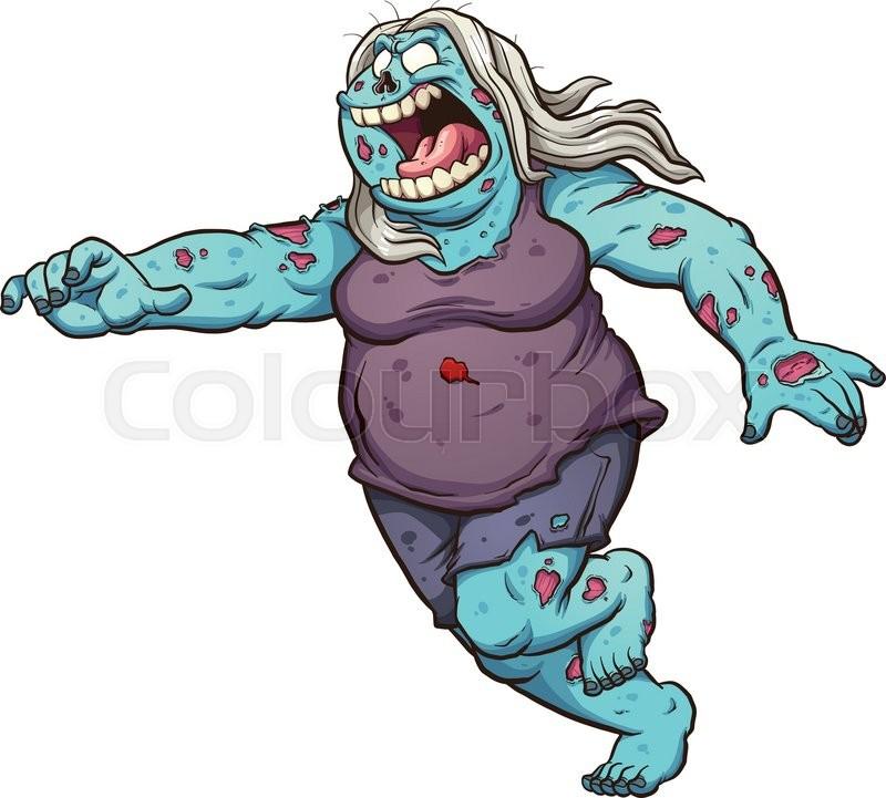 Female fat cartoon zombie running. Vector clip art ...