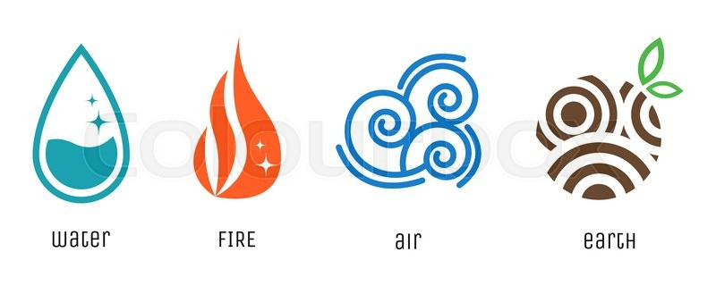 four elements flat style symbols water fire air and earth signs