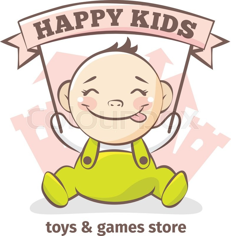 Baby Food Manufacturers Companies In Philippines Mail: Vector Cute Baby Logo In Sketch Style. Toys And Games