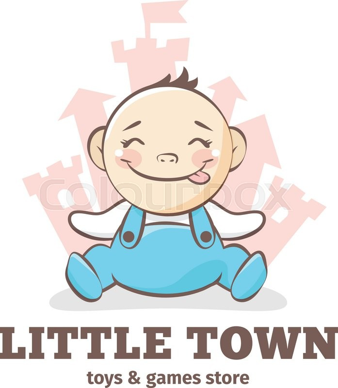 Vector cute baby logo in sketch style. Toys and games ...