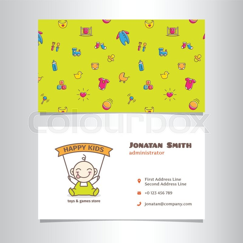Vector modern business card template with cute baby shop logo ...