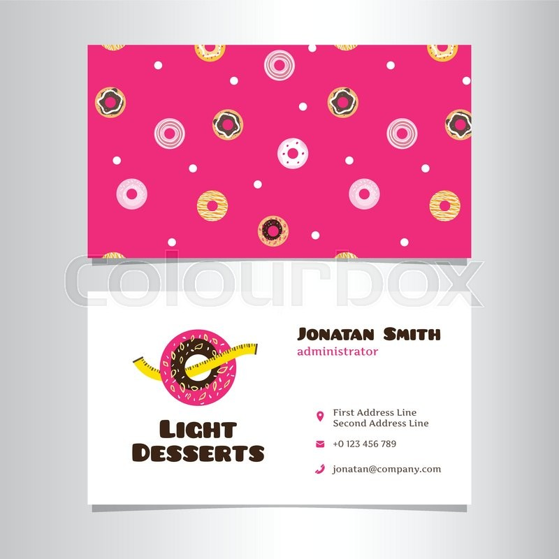 Vector modern business card template with funny donut logo | Stock ...