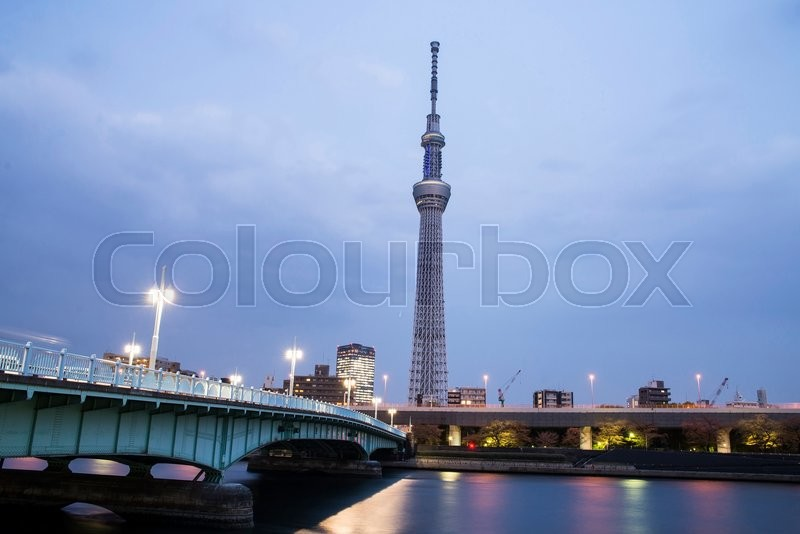 Stock image of 'Tokyo city view and Sumida river. The Sky Tree at a summer night.'