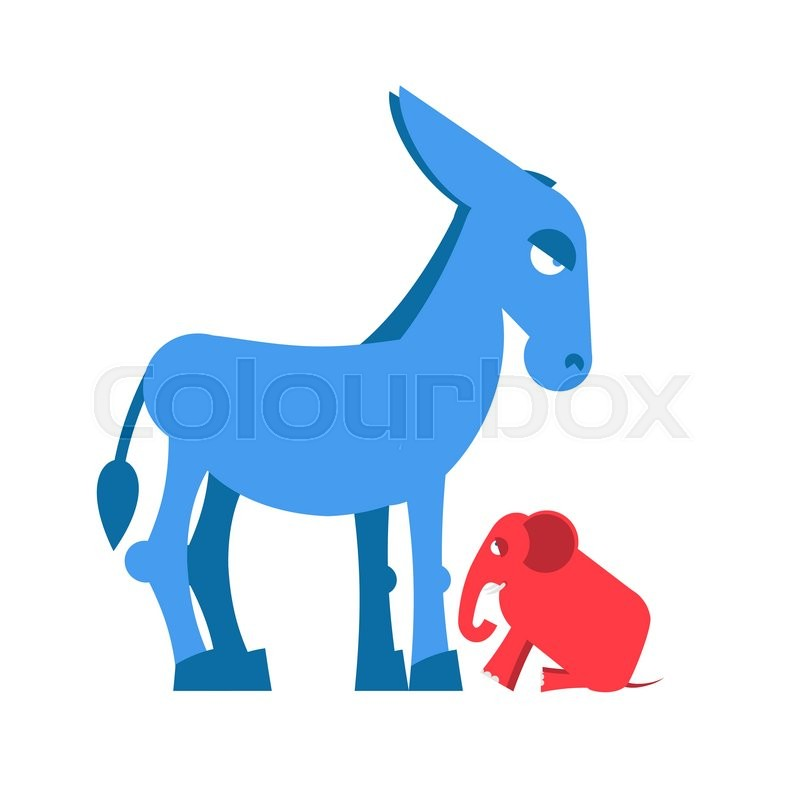 Big Blue Donkey And Little Red Elephant Symbols Of Political Parties