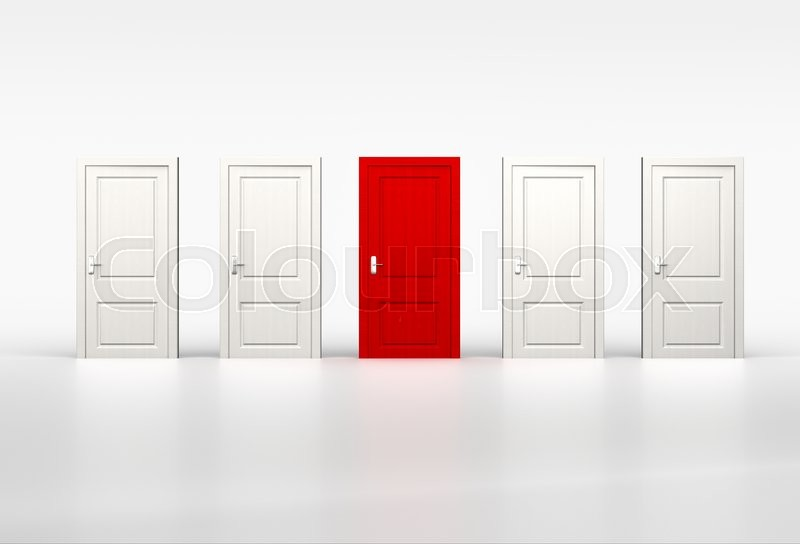 Concept of iniduality and opportunity. Red door in row of white shut doors on white background | Stock Photo | Colourbox & Concept of iniduality and opportunity. Red door in row of white ... Pezcame.Com