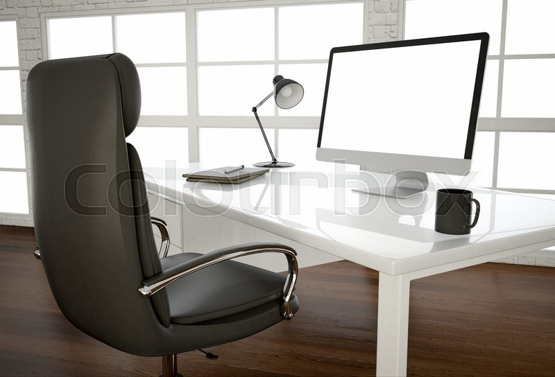 Blank Computer Screen On Glossy White Table At Big Window At Office. 3d  Render. | Stock Photo | Colourbox