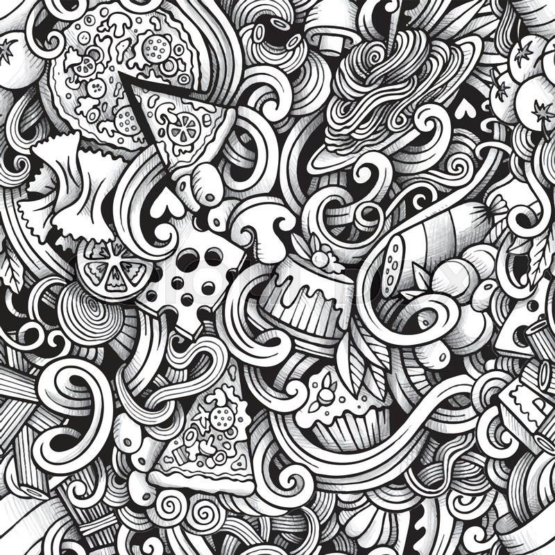 Line Art Design Background : Cartoon hand drawn italian food doodles seamless pattern