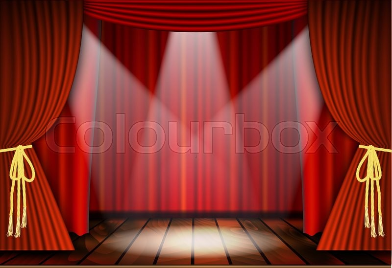 Theatrical scene with red curtains and wooden floor. Stock illustration. Raster version. , stock photo
