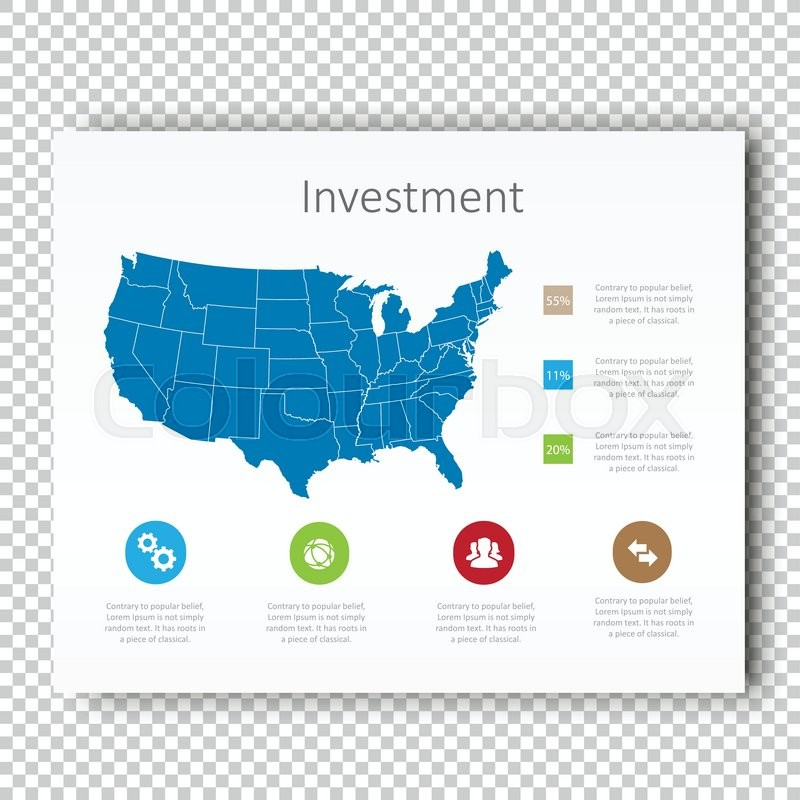 Infographic Investment USA Map ... | Stock vector | Colourbox on mississippi template, usa maps united states, america powerpoint template, maryland template, animals template, california template, arizona template, oklahoma template, ball template, virginia template, oregon template, florida template, bike template, north carolina template, new jersey template, louisiana template, world template, new york template, wisconsin template, ohio template,