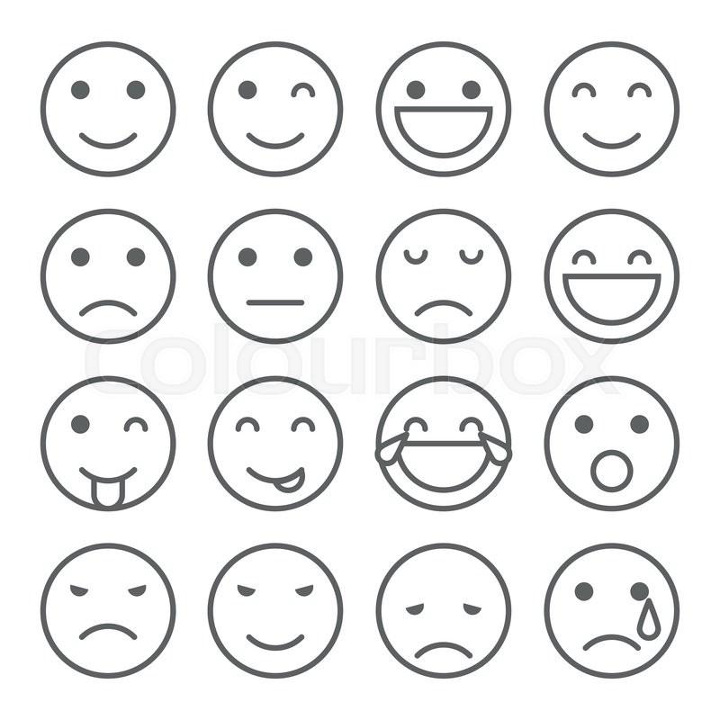 emoji faces simple icons set  stock vector 800 x 800 · jpeg