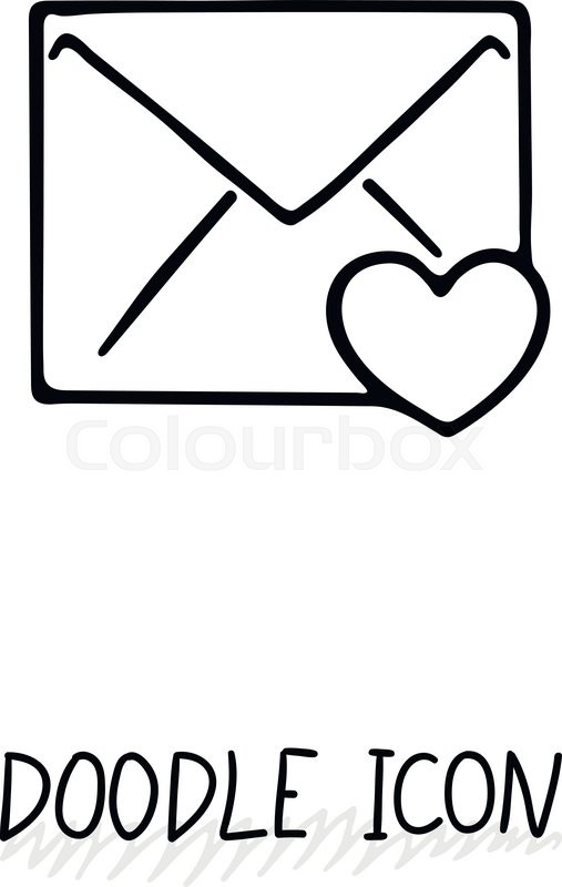 email doodle icon vector pictogram delivery and sending mail