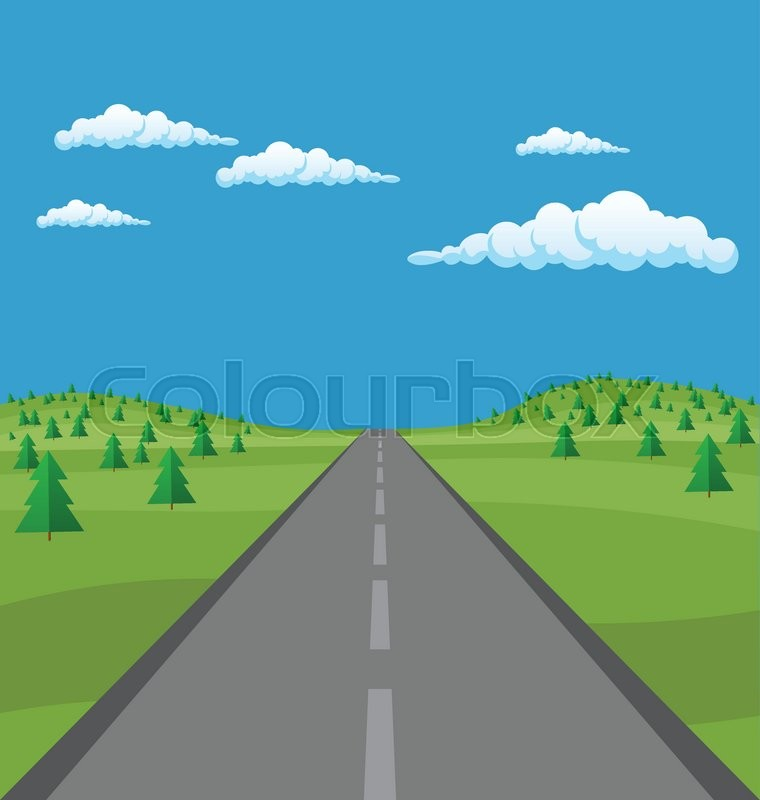 Vector landscape background: road in green fir tree valley, hills, clouds. Flat design, vector