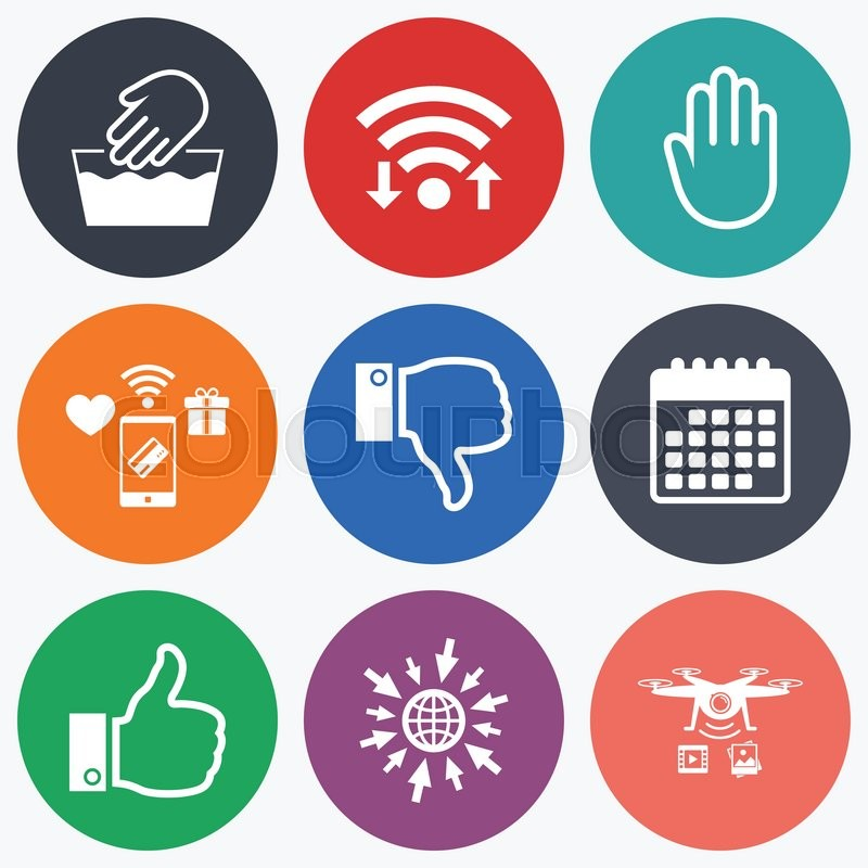 Wifi Mobile Payments And Drones Icons Hand Icons Like And Dislike