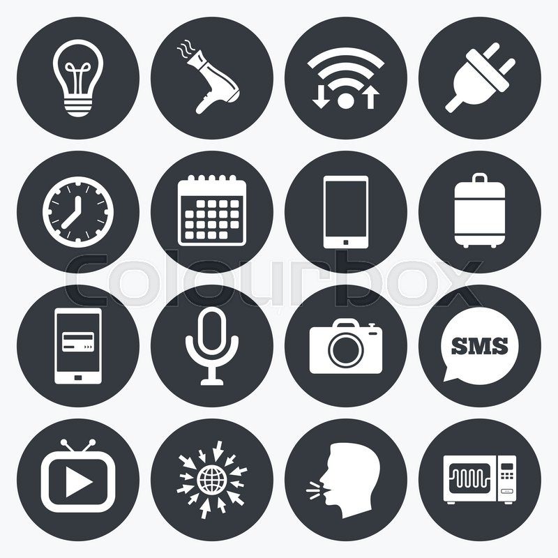 Wifi, calendar and mobile payments. Home appliances, device icons ...