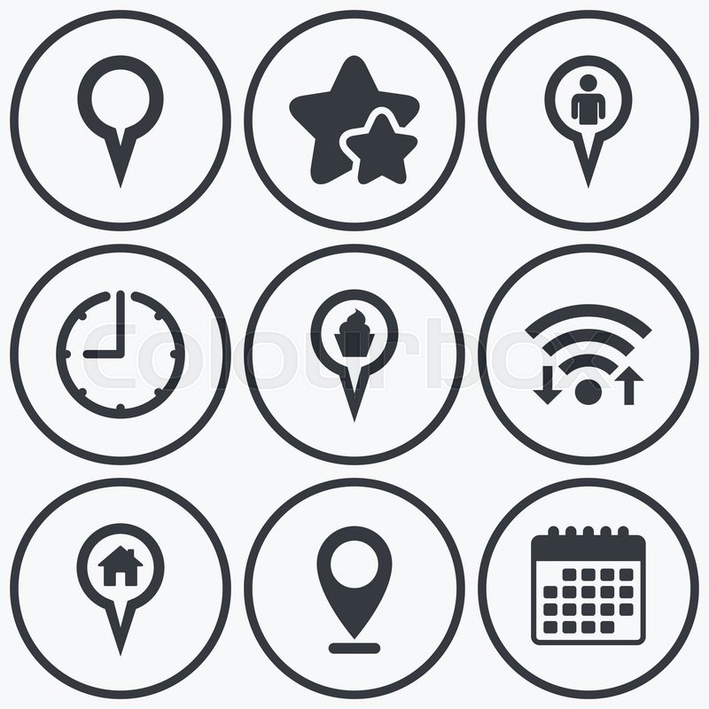 Clock Wifi And Stars Icons Map Circle Pointer Icons Home Food