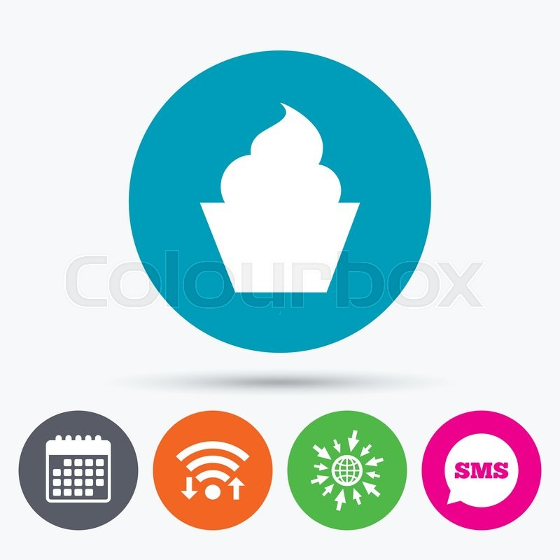 Wifi Sms And Calendar Icons Muffin Sign Icon Cupcake Symbol Go To Web Globe Stock Vector Colourbox