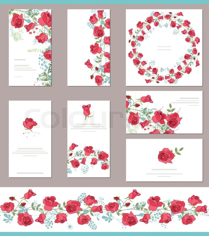 floral spring templates with cute bunches of red roses endless