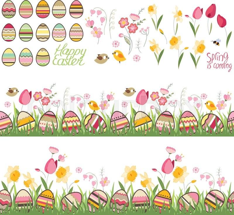festive spring seamless pattern brushes endless free vector paint brush clip art Paint Brush Border Clip Art Free