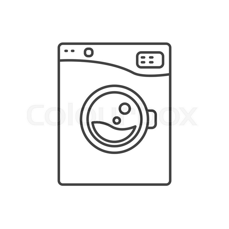 washing machine line icon sign isolated outlined automatic washer symbol black and white. Black Bedroom Furniture Sets. Home Design Ideas