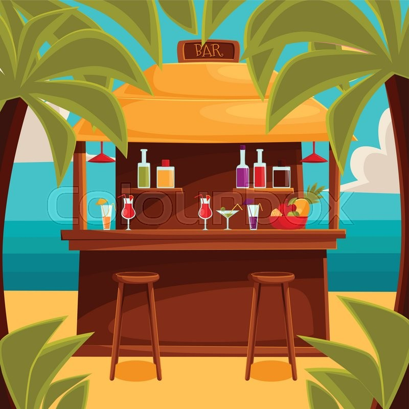Beach Bar On Plage Summer Barroom On Vacation Cocktails