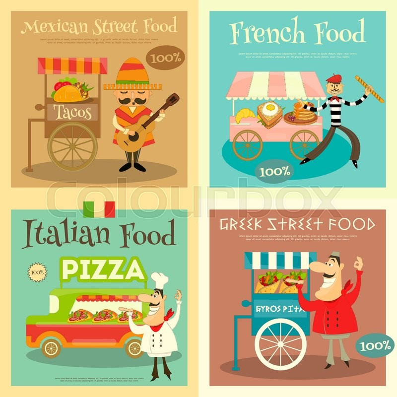 Street Food Festival Posters Set Sellers And Trucks With Mexican Italian Greek French Cuisine Vector Illustration