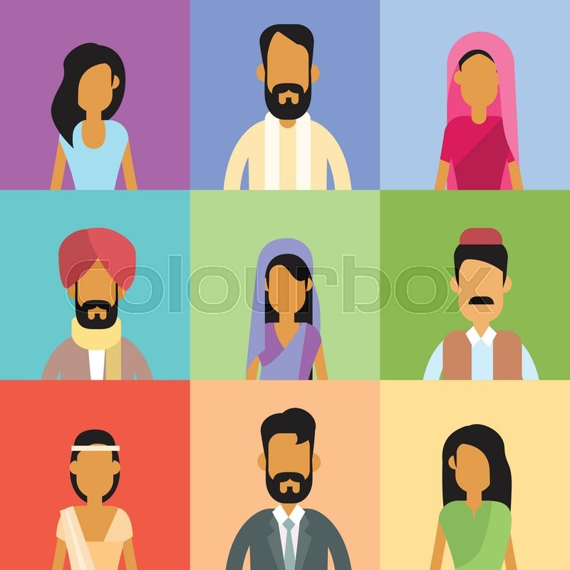 Crowd Of Indian Women Vector Avatars Stock Vector: Indian Profile Avatar Set Business People Portrait Icon
