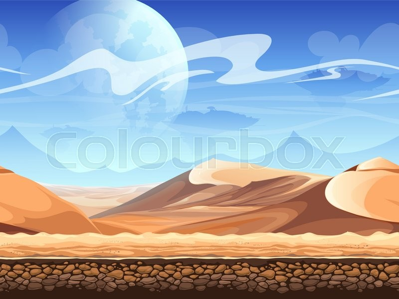 Seamless desert with silhouettes of spaceships. For newspapers, magazines, web design, flyers, websites, printing, vector