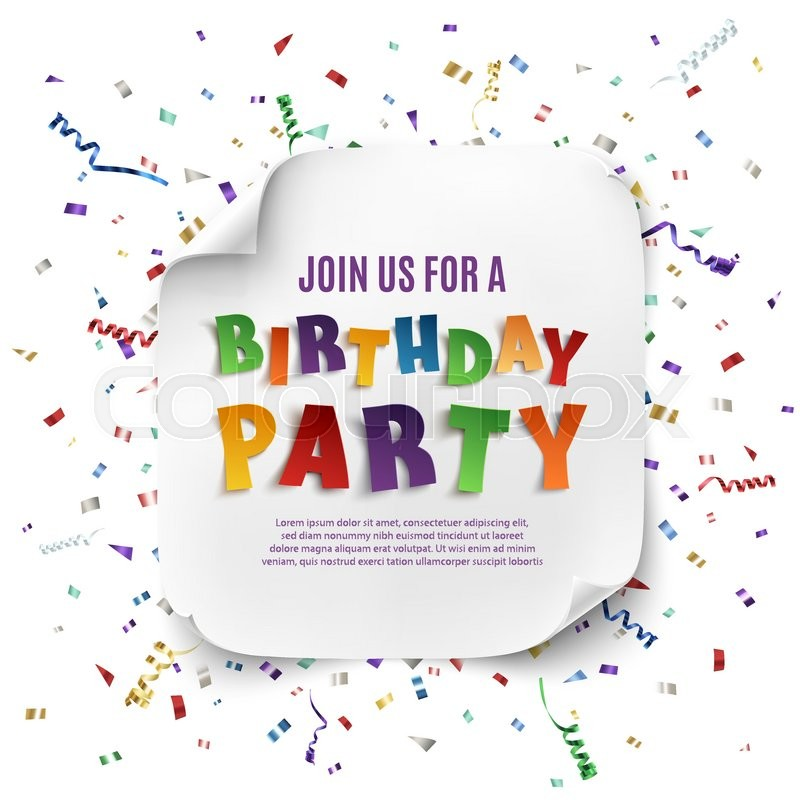 birthday party poster template with realistic curved banner on