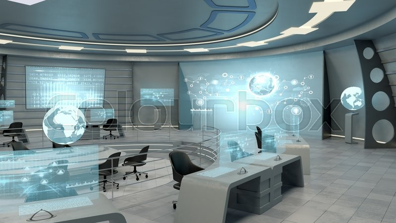 futuristic interior view of office with stock photo