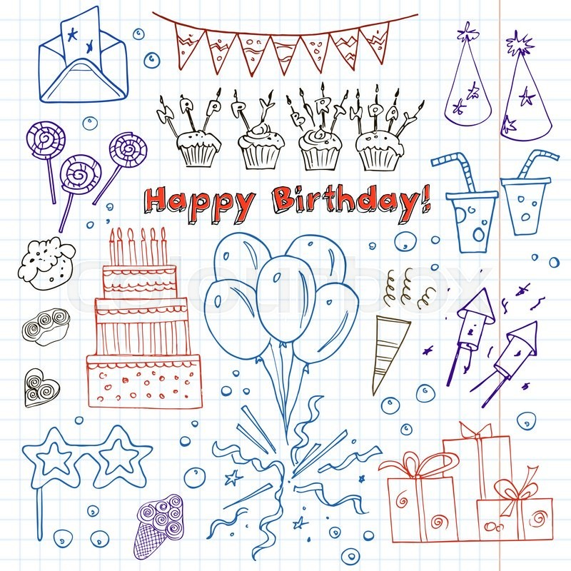 Birthday party doodles elements background. Vector ...