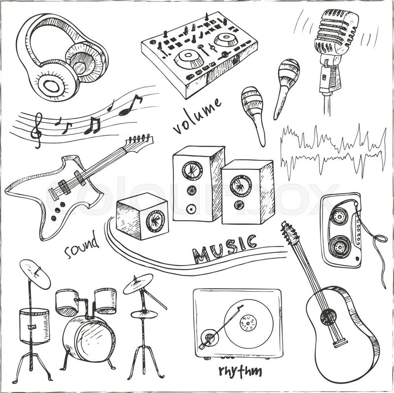 It is a photo of Witty Musical Instruments Drawing