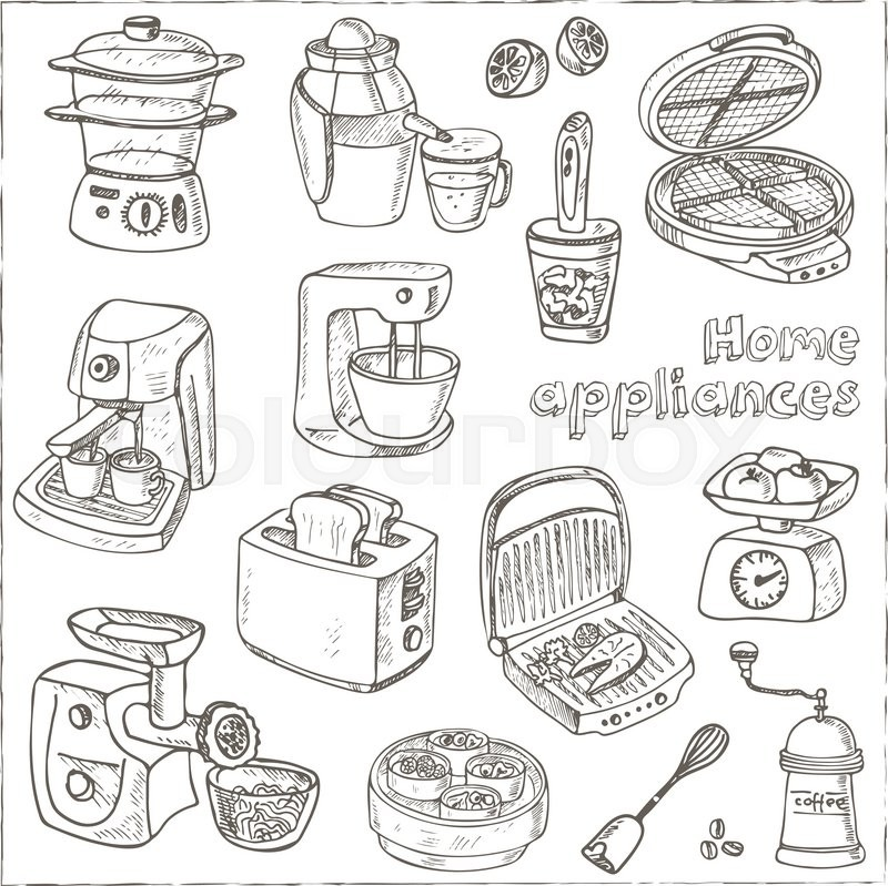 Kitchen Appliance Drawings ~ Home appliances themed doodle set sketches hand drawing