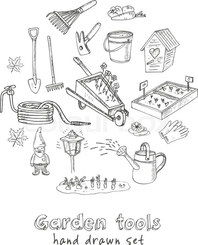 Garden tools doodle set Various equipment and facilities for