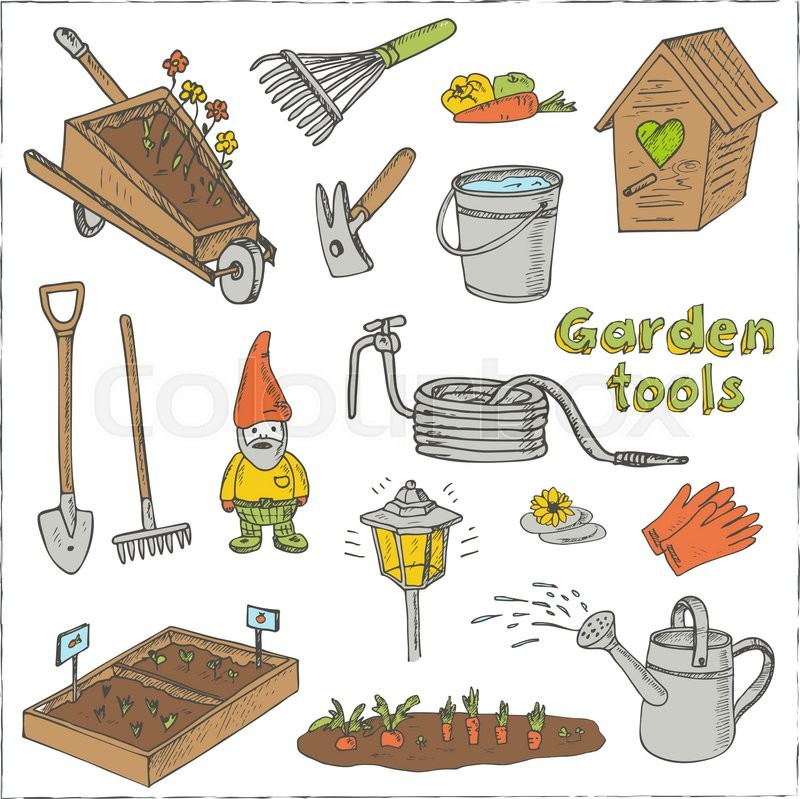 Garden tools doodle set various equipment and facilities for Gardening tools drawing